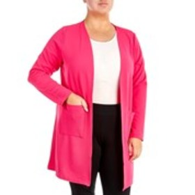 OLIVIA BLU Textured Long Ribbed Cardigan with 2 Po