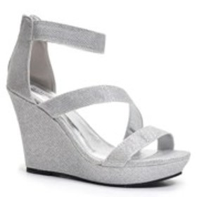 Womens Strappy Glitter Platform Wedge Sandals