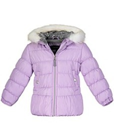 Little Girls Hooded Puffer Jacket With Faux-Fur Tr