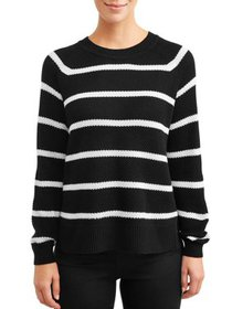 Time and Tru Women's Striped Seed Stitch Pullover