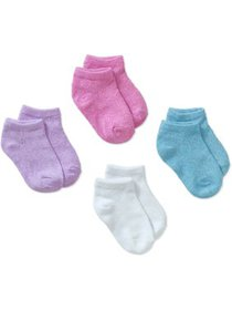 Hanes Girls Socks, 4 Pack No Show ComfortSoft Poin