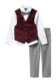 Nautica Holiday Burgundy Velvet Vest