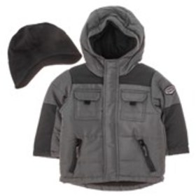 ROTHSCHILD Boys 4-Pocket Puffer Coat with Knit Hat