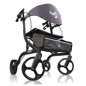 Hugo Explore Side-Fold Rollator Rolling Walker wit