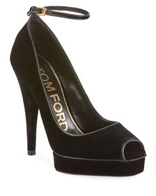 TOM FORD Velvet Platform Peep-Toe Ankle Pumps