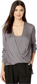 BCBGMAXAZRIA Wrap Long Sleeve Woven Top
