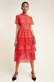 Anthropologie Marlee Tiered Lace Midi Dress