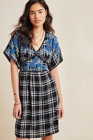 Anthropologie Sarah Plaid Embroidered Tunic