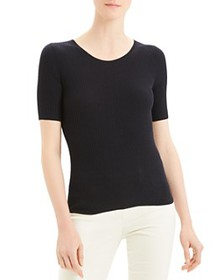 Theory - Short-Sleeve Ribbed Wool Sweater