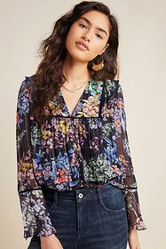 Anthropologie Vivienne Embroidered Blouse