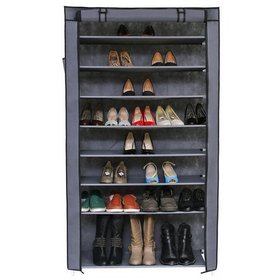 Zimtown 10 Tiers 45 Pairs Gray Shoe Rack Shelf Sto