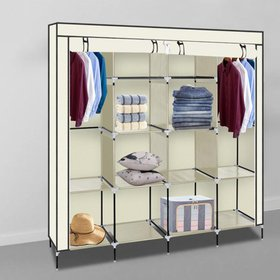 "Ktaxon 67"" Beige Clothes Closet Portable Wardrobe"