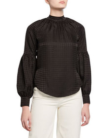 Veronica Beard Cicley Houndstooth Mock-Neck Silk T