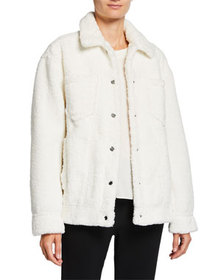 cinq a sept Julia Snap-Front Plush Jacket