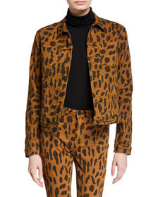 L'Agence Celine Animal-Print Denim Jacket