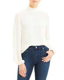 Theory Silk Long-Sleeve Turtleneck Top