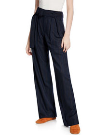 Vince Belted Wide-Leg Pinstripe Pants