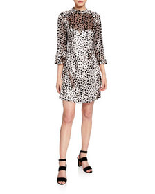 HVN Ashley Leopard-Print Bell-Sleeve Silk Dress