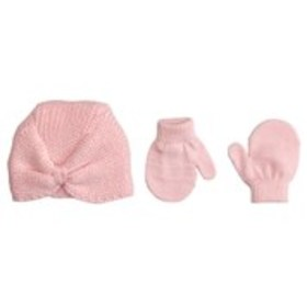TOBY & ME Baby Girls Knit Turban Hat with Mittens