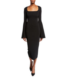 Solace London Serra Scoop-Neck Bell-Sleeve Midi Dr