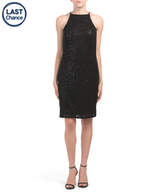 MARINA Sequin Halter Lace Dress