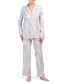 ANNE KLEIN Notch Collar Striped Pj Set