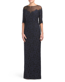 TERI JON Illusion Neck Lace Gown