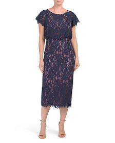 JS COLLECTIONS Flutter Sleeve Lace Midi Dress
