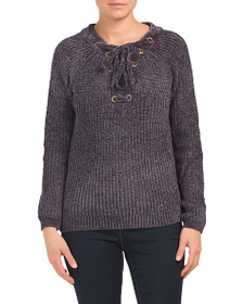 LOVE TOKEN Lace Up Cozy Sweater With Grommets