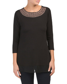 BELLDINI Studded Yoke Tunic Top