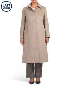 JONES NEW YORK Plus Long Wool Blend Back Belt Coat