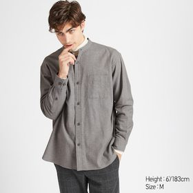 MEN OVERSIZED FLANNEL STAND COLLAR LONG-SLEEVE SHI