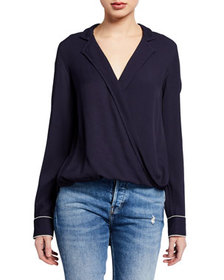 Rag & Bone Dean Front-Drape Collared Blouse