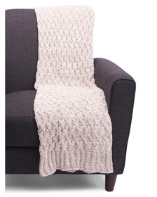 NICOLE MILLER Two Tone Wave Check Chenille Throw