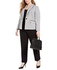 Plus Size Shawl-Collar Straight-Leg Pants Suit