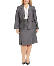 Plus Size Pleated-Hem Skirt Suit