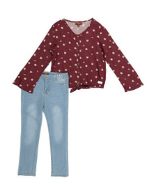 7 FOR ALL MANKIND Little Girls 2pc Ditsy Denim Set