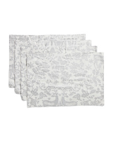 NICOLE MILLER Set Of 4 Reindeer Forest Placemats
