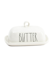 RAE DUNN Circle Handle Butter Dish