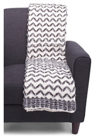ISAAC MIZRAHI Chevron Chenille Faux Fur Throw