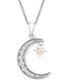 "Diamond Crescent Moon & Star 20"" Pendant Necklace"