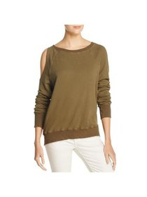 Pam & Gela Womens Cold-Shoulder Distressed Sweatsh