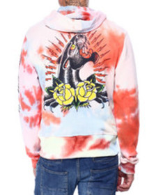 Ed Hardy panther and rose tie dye hoodie
