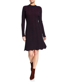 See by Chloe Long-Sleeve Crewneck Knit Dress