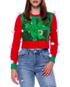Fashion Lab christmas bow l/s crew nk pullover