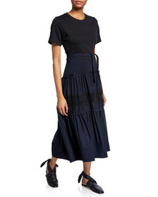 3.1 Phillip Lim Short-Sleeve T-Shirt Dress w/ Belt