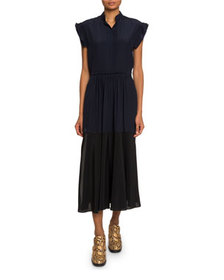 Chloe Mock-Neck Crepe de Chine Midi Dress