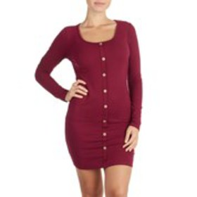 AMBIANCE Juniors Ribbed Button Front Mini Dress