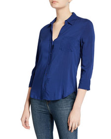 L'Agence Ryan 3/4-Sleeve Button-Down Blouse