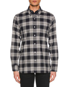 TOM FORD Men's Tonal Overcheck Shirt